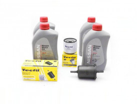 Kit Troca de Óleo March e Versa 1.0 3cil - Óleo Nissan 5w30 e Filtros de Óleo, Ar e Combustível Tecfil