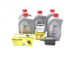 Kit Troca de Óleo March e Versa 1.0 e 1.6 - Óleo Nissan 5w30 e Filtros de Óleo e Combustível Tecfil até 2015